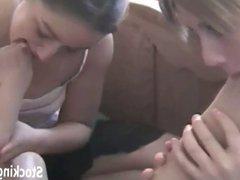 Ashley and Jasmin worshiping feet in pantyhose