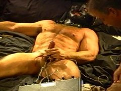 Cock and ball electrostim on muscle stud
