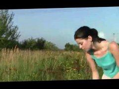 Amateur - Hard Nipple Teen Playing in the Sun