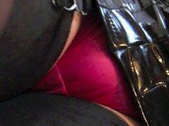 Shiny Black Pvc Dress with Seamed Stockings