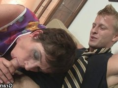 She takes his stiff young cock
