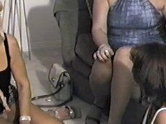 Three Hot Cougars Lounging and Smoking (short clip)