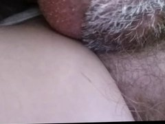 rubbing my cheak & kissing her soft hairy pussy