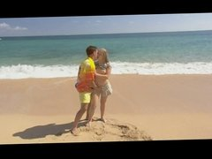 Blond long-haired Beauty gets anal fucked on the beach