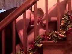SSBBW stairs blow job