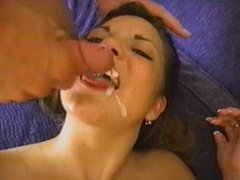 Natural Titty Brunette Swallows 2 loads
