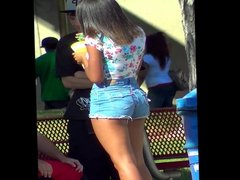 Young Black Girl With Fuckable Ass In Jean-Shorts