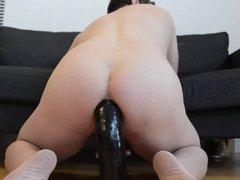 Fucking myself with a huge dildo