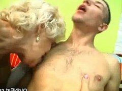 Chunky Blonde Grandma Sucks Cock