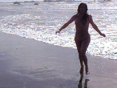 Sissy Asian Ladyboy Running in Thailand beach