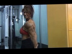 Ripped FBB Posing and Lifting in Gym
