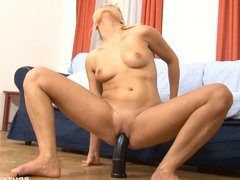 Long big black dildo for her tight hole