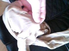 cumming on her pantyhose