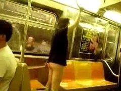 Girl pull panties down in Subway.