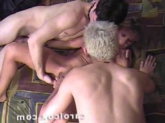 Carol Cox and two fans, with hard anal and double CUMshot!