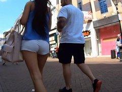 Slim Brunette In Tight White Shorts