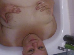 bbw face and tits covered in cum