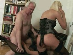 Old man fuck two blondes