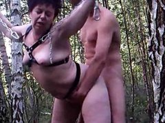 Tied and fucked in woods