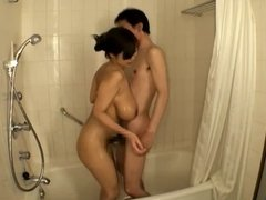 Busty asian shower and blowjob
