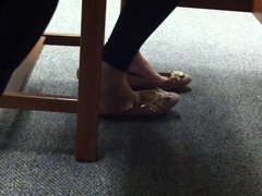 Candid Shoeplay Teen Feet in Library Painted Toes