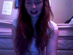 Stunning redhead teen on cam