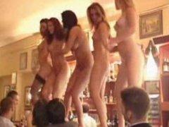 GIRLS DANCEING NUDE ON THE BAR IN GREAK TOWN
