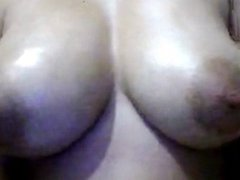 Asian cam girl big tits oil and suck Part 1