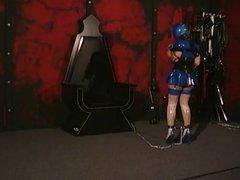 Blue Blinded Brunette Gets Punishment