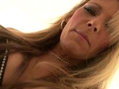 Debi Diamond sucks and eats cum pov
