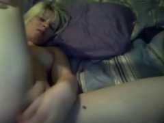 Blonde fucks vibrator