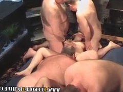 Cuckold MILFs in my house gangbang party I watch them fucked