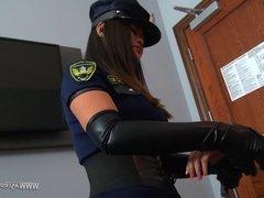 Femdom ballbusting - Police 2
