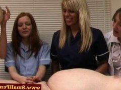 Femdom nurses make his small cock cum