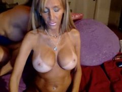 Huge squirt machine with tanned big breasts & GF