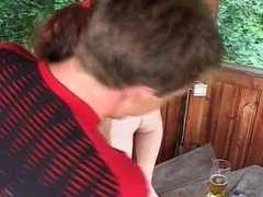 German redhead MILF outdoor fucking