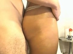 Cute black girl, great tits, sucks her white dude