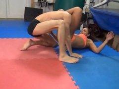 tough girl beating a wimpy guy