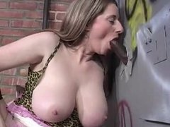 Hand & blowjob at glory hole