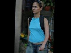 Amateur women public braless on street - part 2