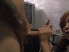 Hot Blonde Cougar Smoking and Sucking