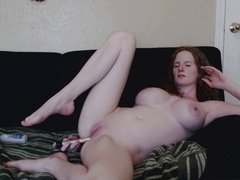 Redhead Anal Play on couch