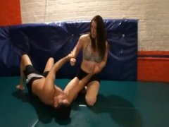 tough brunette makes tap out her weak contender