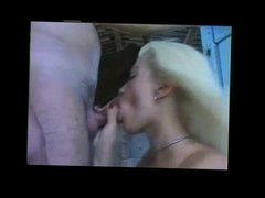Blonde Doing Blowjob in The Barn BVR