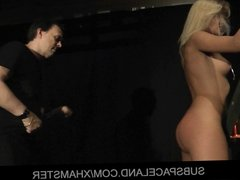 Sexy blonde Cherry Kiss spanked and played in bdsm porn