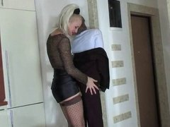 BLONDE MISTRESS FUCKING A GUYS ASS
