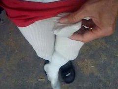 Cum in nylon sock