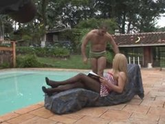 Blond TS bangs her bottom boy outdoors