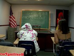 Latina blows clowning teacher
