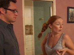 Redhead Teen Babysitter Shows Him Her Snatch
